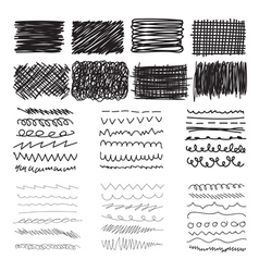 Set of hand drawn doodle banners strokes and ink vector image vector image