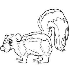 Skunk animal cartoon coloring page vector