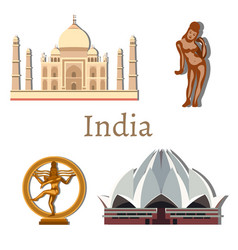 travel india with landmarks vector image