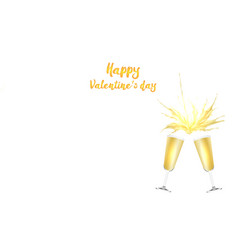 valentine s day card with champagne vector image vector image