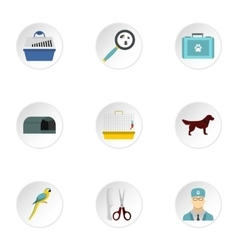 Veterinary animals icons set flat style vector