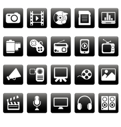 White media icons on black squares vector image
