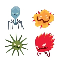 Cartoon viruses characters set vector image