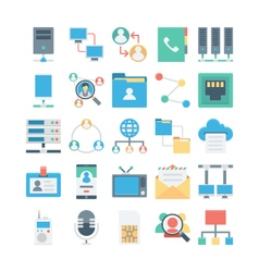 Network and communication colored icons 1 vector