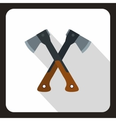 Two crossed axes icon flat style vector