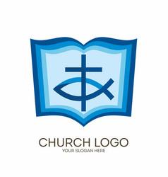bible cross and jesus fish vector image