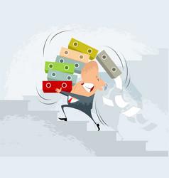 businessman carry folders vector image
