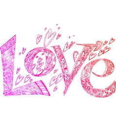 Love pink sketchy doodles vector