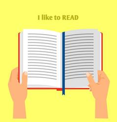 Hands holding open book vector