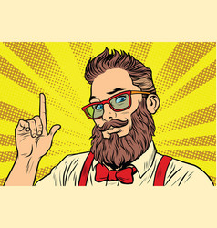 Bearded hipster man portrait pointing finger vector