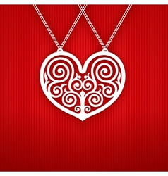 Valentines day heart on red background vector