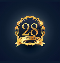 28th anniversary celebration badge label in vector