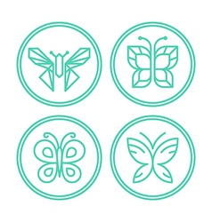 Set of line butterfly logos and icons vector