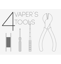 4 thin lines vaper tools set vector