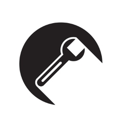 Black icon with spanner and stylized shadow vector