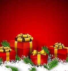 Red christmas background with gift boxes vector