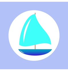 Sailing ship in circle vector