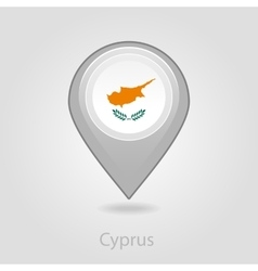 Cyprus flag pin map icon vector