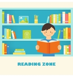 Boy reading a book against library bookshelves vector