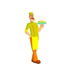 Chef holding pasta dish vector
