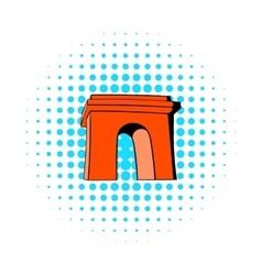 Triumphal arch Paris icon comics style vector image