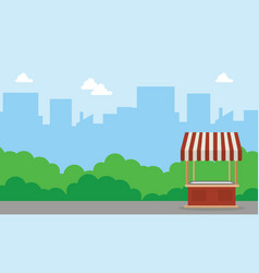 Background landscape of street stall vector