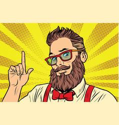 bearded hipster man portrait pointing finger vector image