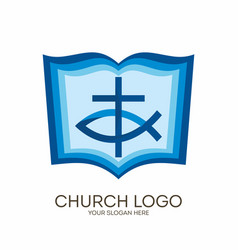 Bible cross and jesus fish vector