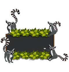 Border template with lemurs and leaves vector