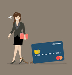 Business woman with credit card burden vector