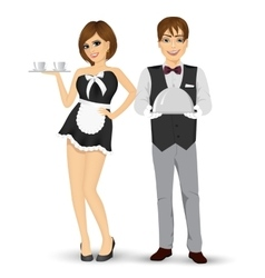 Butler holding silver tray and maid serving coffee vector