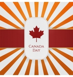 Canada day paper emblem with red ribbon vector