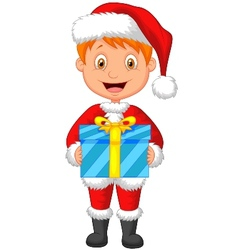 Cartoon a boy in red clothes holding gift vector image vector image