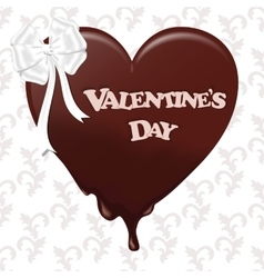 Chocolate melting heart with white ribbon and the vector