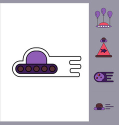 Collection of icons and space saucers and planets vector