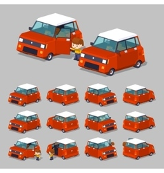 Cube world red hatchback vector