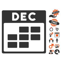 December calendar grid icon with lovely bonus vector