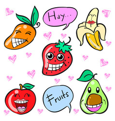 Doodle of fruit smile cartoon vector