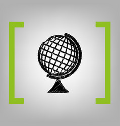 Earth globe sign black scribble icon in vector