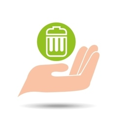 Environment friendly concept trash can garbage vector