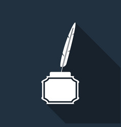 Feather and inkwell flat icon with long shadow vector