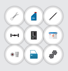 flat icon auto set of automobile part automatic vector image