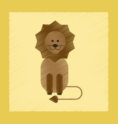 Flat shading style icon cartoon lion vector