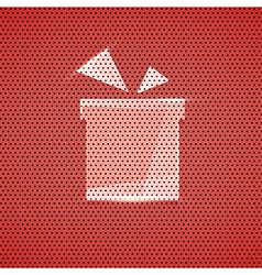 Gift icon metal red texture background vector image