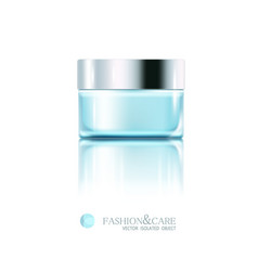 Glass jar cosmetic cream isolated object vector