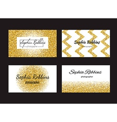 Golden business cards vector