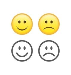 Happy and sad emoticons vector image