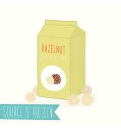 Hazelnut milk in a carton pack vector