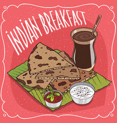 Indian breakfast with flatbread and masala chai vector