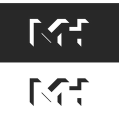 Initials MH letters logo mockup group M and H vector image
